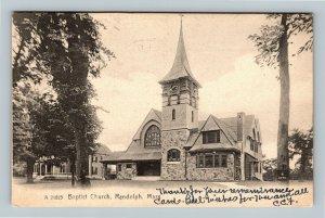 Randolph MA, Baptist Church, Clock Tower Vintage Massachusetts c1909 Postcard
