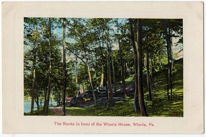1907-1915 Lake Winola PA The Rocks in Front of the House Overfield DB Postcard