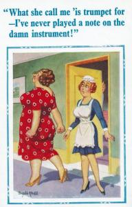 Pompous Fat Woman Ordering House Maid Rude Trumpet Talk Comic Humour Postcard