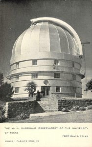 McDonald Observatory University of Texas Fort Davis, TX c1940s Vintage Postcard