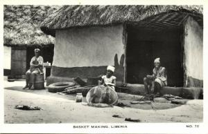 liberia, Native Women Basket Making (1930s) RPPC