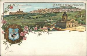 Italy Gruss Aus Style Greeting Assisi Porziuncola Church c1900 Postcard #1