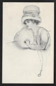 Pretty Lady with Large Hat & Hand Muff Unused c1910s