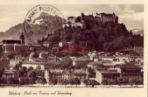 AUSTRIA SALZBURG - STADT MIT FESTUNG UND UNTERSBERG 1941 U.S. Army postmark