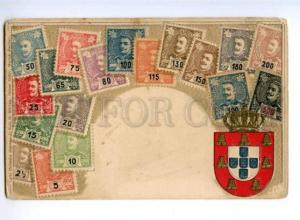 174063 BRAZIL ARMS & STAMPS Vintage embossed Zieher postcard