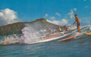 Outriggers and Surfboards, Off Diamond Head, HONOLULU, Hawaii, PU-1961