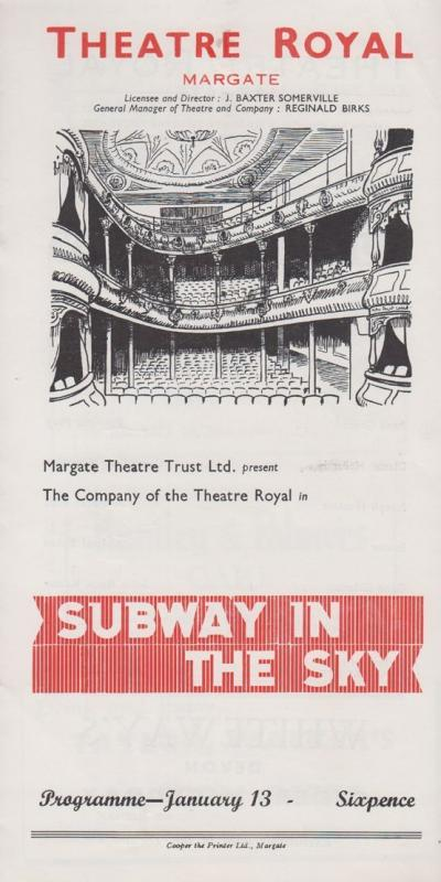 Subway In The Sky Ian Main Rare Theatre Royal Margate Kent Programme