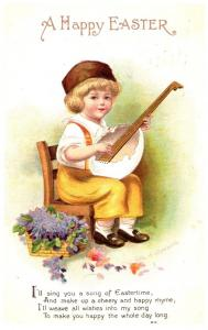 Easter, Ellen Clapsaddle , Boy playing Mandolin