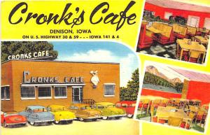 Denison IA Cronk's Cafe on U. S. 30 Multi-View Linen Postcard