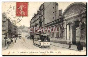 Old Postcard Le Havre Bank The Bank of France and rue Thiers Tramway