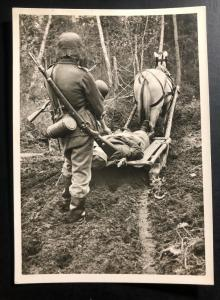 Mint Germany RPPC Postcard  Waffen SS  Wounded Marshall Transportation