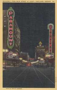 PORTLAND , Oregon , 30-40s ;  Broadway from Main Street at Night