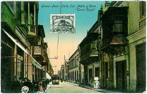 VINTAGE POSTCARD: PERU - LIMA : tram