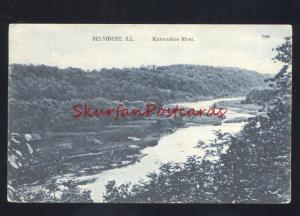 BELVIDERE ILLINOIS KISHWAUKEE RIVER ANTIQUE VINTAGE POSTCARD ILL.