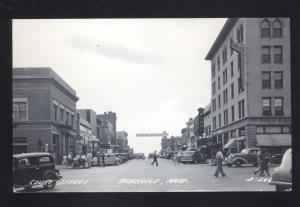 RPPC BEATRICE NEBRASKA 1930's CARS DOWNTOWN STREET SCENE REAL PHOTO POSTCARD
