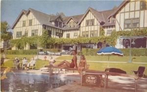 Bathing Suits California Del Mar Turf Surf Hotel Postcard 1940s Pool 3466