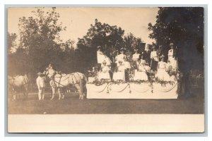 RPPC Horse Drawn Float Street Fair And Festival 1907 Estherville Iowa pc1942