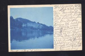 RPPC CYANOTYPE WAPPOCOMO WEST VIRGINIA RIVER VINTAGE REAL PHOTO POSTCARD
