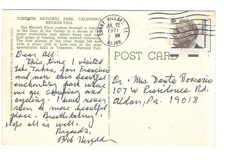 CA Yosemite National Park Nevada Fall Merced River Curteich 1971 Postcard