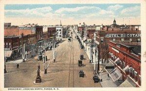 LPS67 Fargo North Dakota Broadway Street Town Aerial View Vintage Postcard