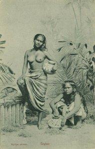 ceylon, Beautiful Native Nude Rodiya Women with Water Chatty Pottery (1910s) (2)