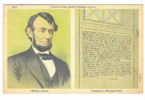 2-Views, Abraham Lincoln, Inscription In Memorial Hall, Lincoln Farm, Near Ho...
