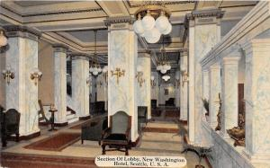 Seattle Washington~New Washington Hotel Lobby~Marble Columns & Lights~c1910 Pc