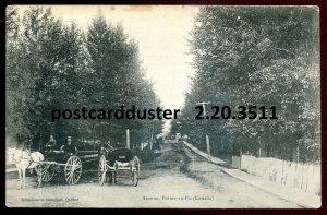3511 - POINTE AU PIC Quebec Postcard 1910s Avenue. Wagons Horses