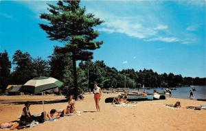 Sebago Lake State Park Maine~Beach Scene~People Posing~Canoes~Tents~60s Postcard