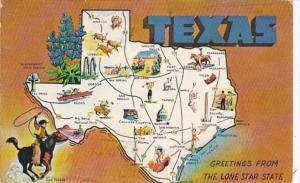 Greetings From Texas With Map 1968