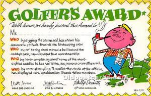 Old Vintage Golf Postcard Post Card Golfers Award Unused