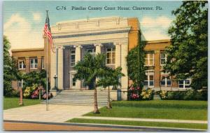 Clearwater, Florida Postcard Pinellas County Court House Curteich Linen c1940s