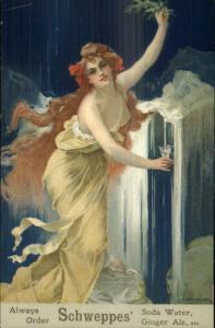 Schweppes' Ginger Ale Soda Beautiful Woman Art Nouveau Poster Art Postcard