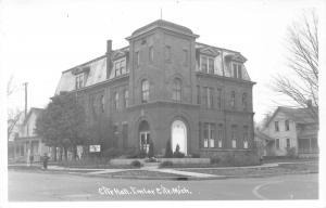 Imlar City Michigan~City Hall~Boys on Sidewalk~Houses~Conservation HQ Sign~RPPC