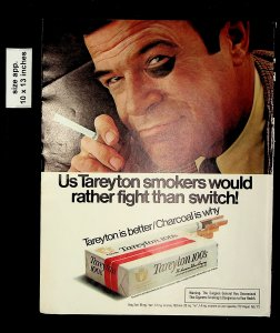 1975 Tareyton 100s Cigarettes Smokers Would Rather Fight Vintage Print Ad 17755