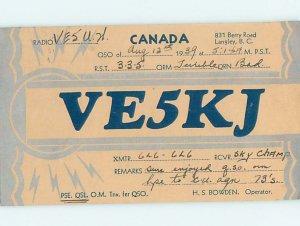 1930s QSL RADIO CARD Langley - Near Vancouver British Columbia BC AH3280