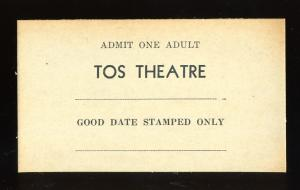 Vintage Tos Movie Theatre Ticket, Claxton, Georgia/GA, 1940's?