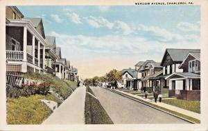 CHARLEROI PENNSYLVANIA~MEADOW AVENUE-ROBBINS PUBL POSTCARD 1920s