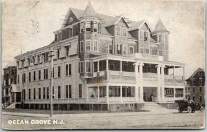 OCEAN GROVE New Jersey Postcard SEASIDE HOTEL Building / Street View 1911 Cancel