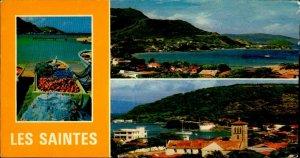 CE0762 guadeloupe terre de haut fishing boat church caribbean sea french antiles
