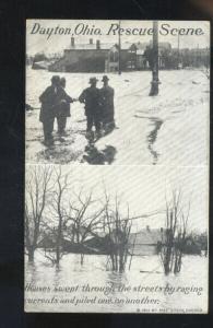 DAYTON OHIO RESUE SCENE FLOOD 1913 VINTAGE POSTCARD