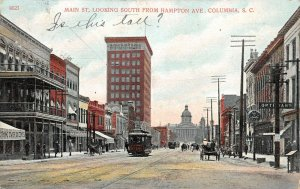 LP51 Columbia South Carolina Main St Trolley Postcard