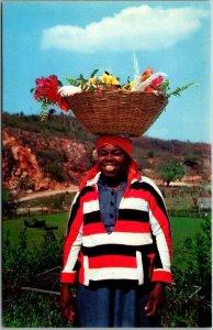 1960s JAMAICA Postcard Typical Jamaican Scene Woman w/ Basket on Head Dexter