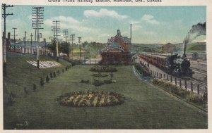 HAMILTON, Ontario, Canada, 1900-10s; Grand Trunk Railway Station, Train on tr...