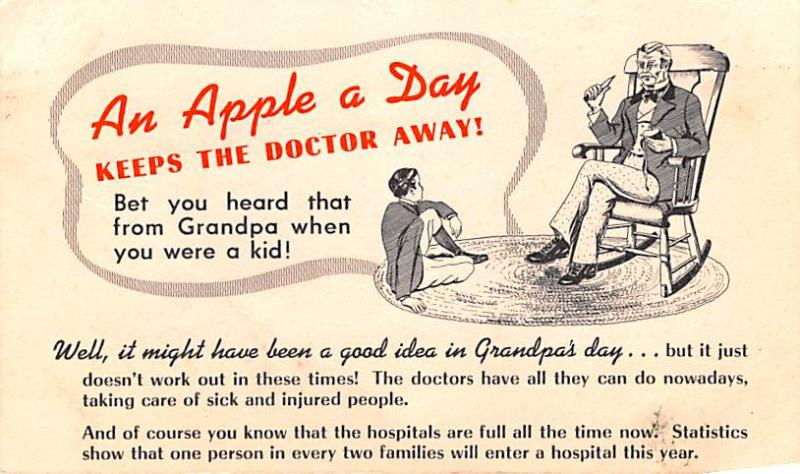 Advertising Post Card Apple a Day Keeps the Doctor Away Unused