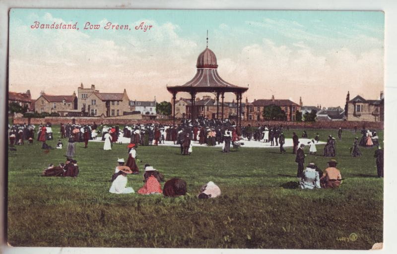 P850 old valentines card bandstand people, low green , aye scotland