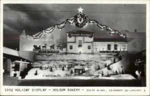 South Miami FL Holsum Bakery 1952 Holiday Display Real Photo Postcard