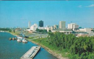 Louisiana Baton Rouge Skyline Along The Mississippi River