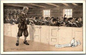 1910s WALK OVER SHOES Advertising Postcard Pilgrim Sabbath Artist-Signed SMITH