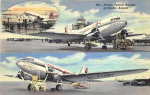 McKeesport PA Pittsburgh Airport Central Airlines Prop Planes Linen Postcard